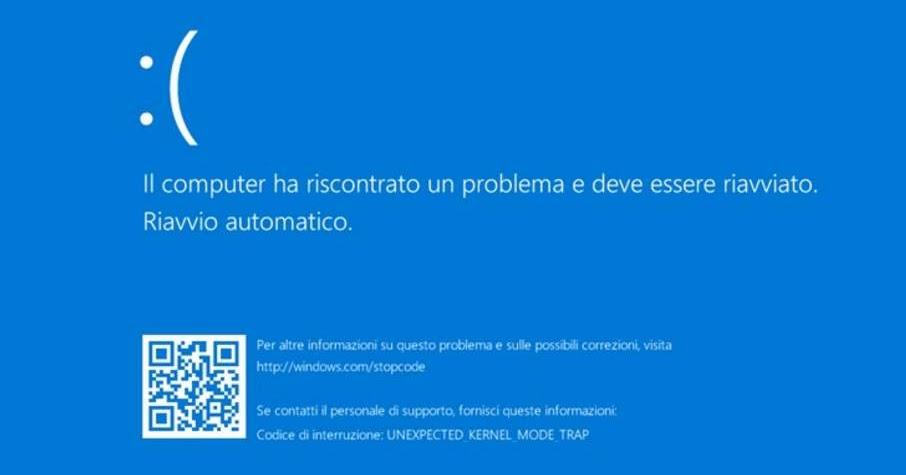 Windows 10 schermata blu lanciando stampa